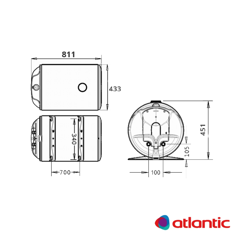 Схема водонагревателя Atlantic O'Pro Horizontal HM 080 D400-1-M
