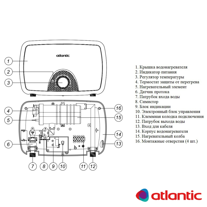 Схема проточного водонагревателя Atlantic серия Ivory IV202