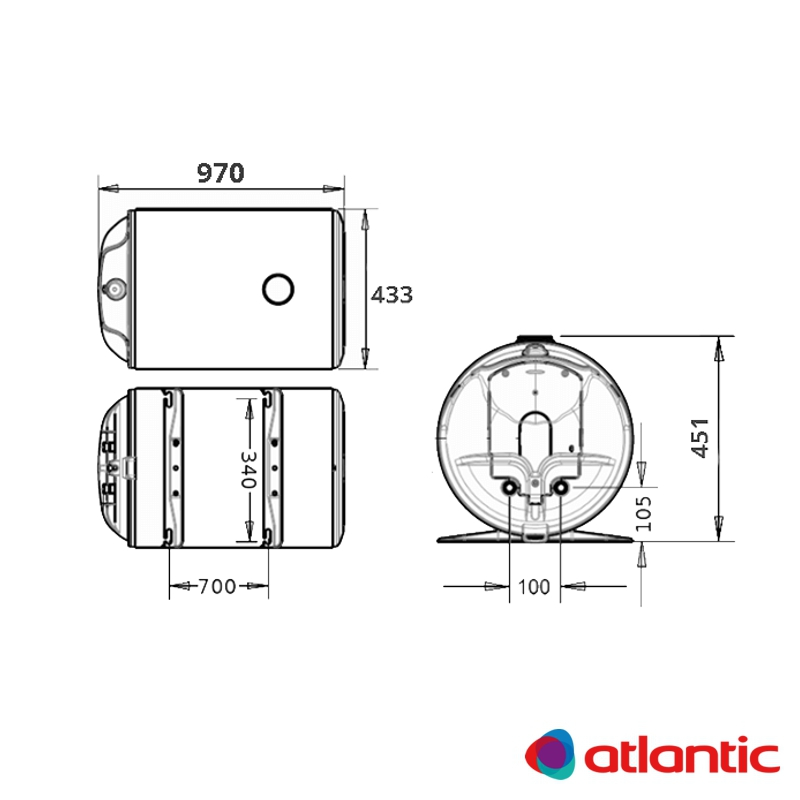 Схема водонагревателя Atlantic O'Pro Horizontal HM 100 D400-1-M